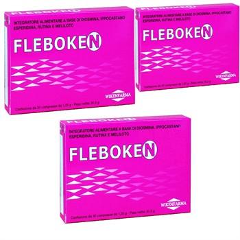 LINEA WIKENFARMA-3 confezioni FLEBOKEN: contro la cellulite, ritenzione idrica, stasi e insufficienza venosa